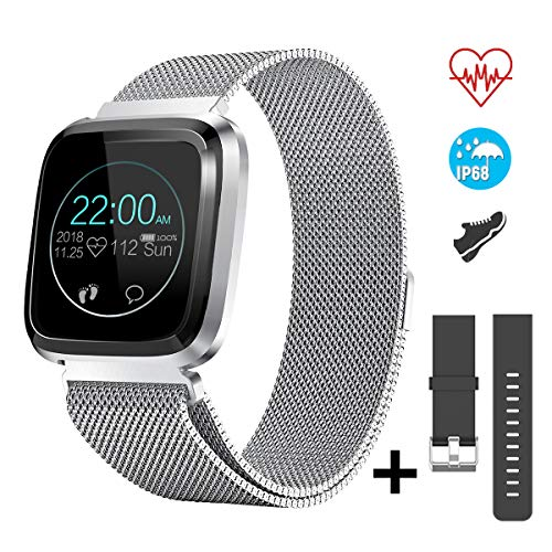 CatShin Smart Watch Fitness Tracker Watch with Heart Rate Monitor-CS08 Waterproof IP68 Pedometer SMS Camera Music Control Sleep Monitor for Android/iOS Swimming Smartwatch for Women Men (Silver)