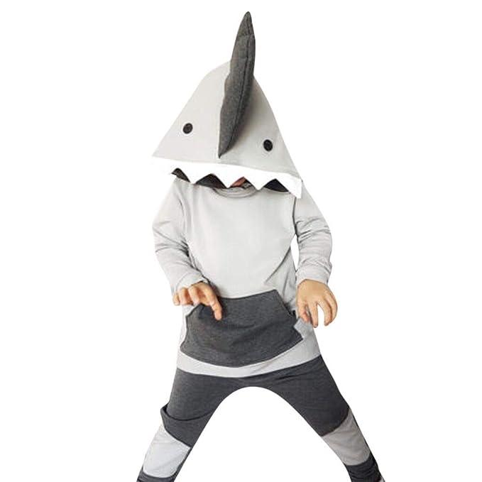 Mitlfuny Niñas Niño Sudaderas con Capucha Conjunto de Ropa Bebé Tiburon Dibujos  Animados Algodón Deporte Camisas d5e0f0595c07f