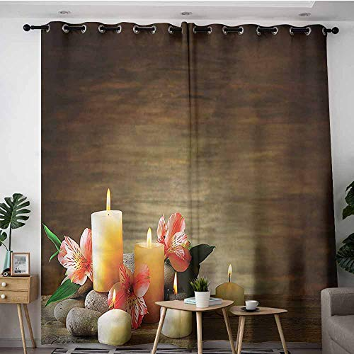XXANS Curtains for Living Room,Spa,Candles Wellbeing Unity,Blackout Window Curtain 2 Panel,W84x84L ()