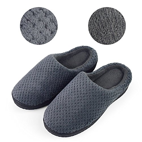 Women's Coral Shoes Lining Sakuracan Slippers Memory Gridding Clog Slippers Indoor Comfort Plush Grey House on Dark Foam Outdoor Slip Iawwqd