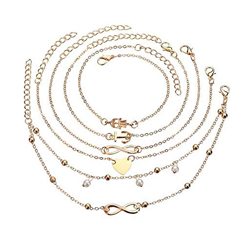 Anlsen 12Pcs Anklets for Women Girls Silver Gold Ankle Bracelets Set Boho Layered Beach Adjustable Chain Anklet Foot Jewelry