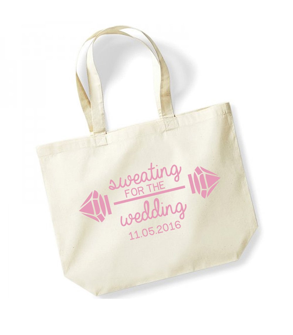 Sweating For The Wedding - Weights - Personalised Date - Large Canvas Fun Slogan Tote Bag (Natural/Pink)