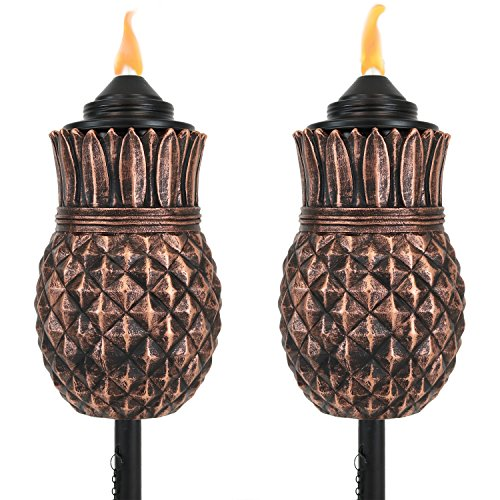 Sunnydaze Pineapple Torch, Outdoor Patio and Lawn Citronella Torches, 23- to 65-Inch Adjustable Height, 3-in-1, Set of 2 by Sunnydaze Decor