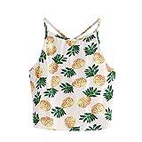 EOWEO Anniversary celebration T-Shirt Tops Vest Women Pineapple Print Tank Top Summer Sexy Short Halter Top (X-Large,Yellow)