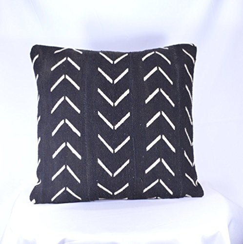 19x19 Double-Sided African Mudcloth Pillow Cover; Bogolanfini Decorative Pillow, Black & White Mud cloth Throw Pillow from Mali -BF1039