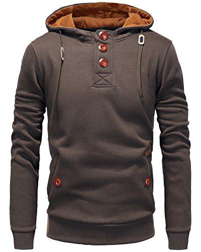 Men%27s+Long+Sleeve+Pullover+Fleece+Hoodie+Casual+Lightweight+Hooded+Sweatshirt+Coffee+Medium