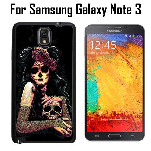 Dia De Los Muertos Skull Flower Custom Case/ Cover/Skin *NEW* Case for Samsung Galaxy Note 3 - Black - Rubber Case (Ships from CA) Custom Protective Case , Design Case-ATT Verizon T-mobile Sprint ,Friendly Packaging - Slim Case