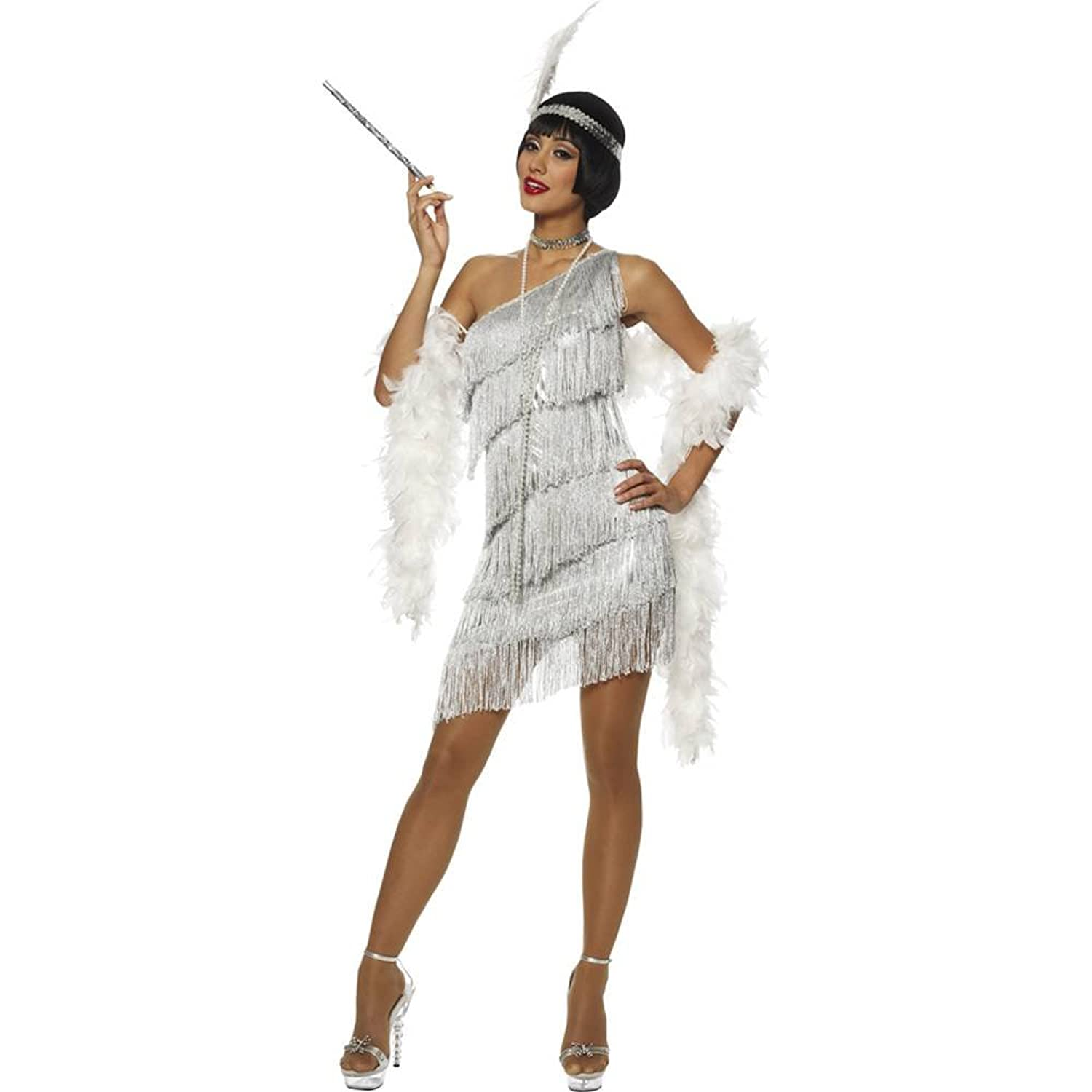 Amazon.com: Dazzling Silver Flapper Adult Costume: Clothing