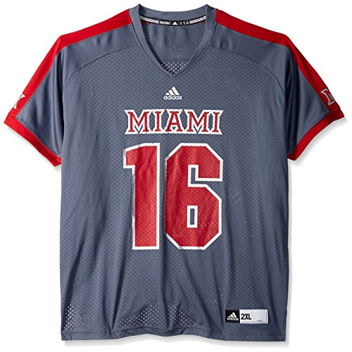(adidas NCAA Miami (Ohio) Redhawks Men's Replica Football Jersey, Grey, X-Large)