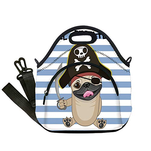 Insulated Lunch Bag,Neoprene Lunch Tote Bags,Pirate,Buccaneer Dog in Cartoon Style Costume Holding Sword Lil Pirate Striped Backdrop,Multicolor,for Adults and -