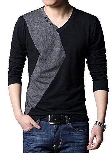 XTAPAN Mens V-Neck Long Sleeve Casual Cotton T-Shirt Stitching Fashion Black 2XL