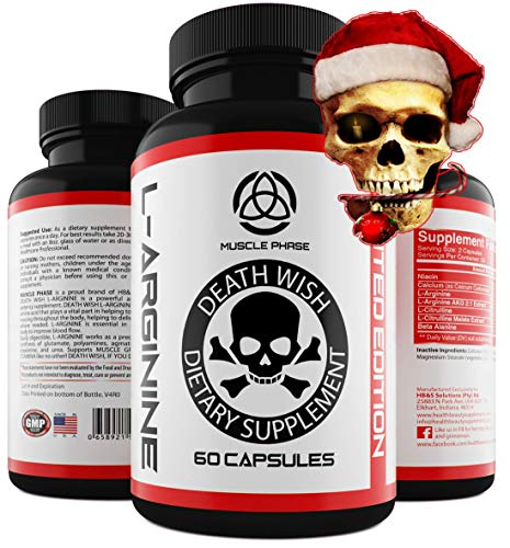 Cheap | Death Wish Supplements L-ARGININE |with Nitric Oxide |Muscle Growth |Increased Stamina | Strength | Male Enchantment Pills | Nitric Oxide Booster | Top Rated|Plus |L Arginine L Citrulline Complex