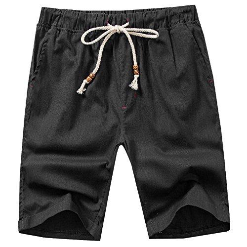 Manwan walk Men's Linen Casual Classic Fit Short B311 (Large, Black)