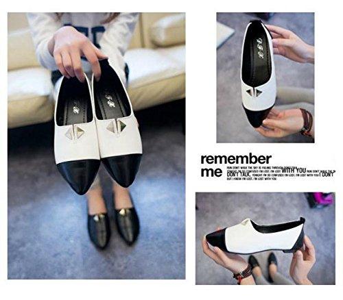Gaorui Women Vintage Rivet PU leather Flat Shoes stud Loafers Slip-on Pointed cap-Toe Black LEJdoZM6