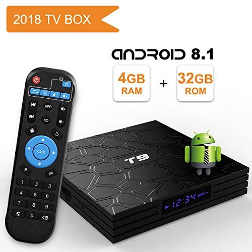 YAGALA T9 Android 8.1 TV Box, 4GB RAM 32GB ROM RK3328 Quad Core Smart Box Supports 2.4Ghz WiFi 4K Resolution H.265 USB 3.0 BT 4.1