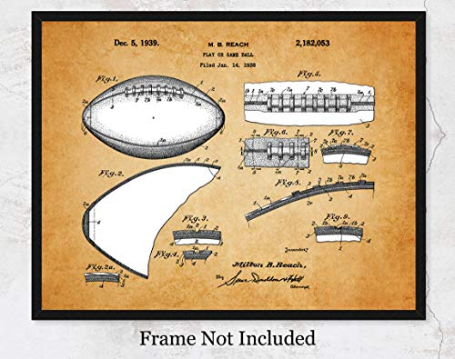 Vintage Football Patent Wall Art Print: Unique Room Decor for Boys, Girls, Men & Women - (11x14) Unframed Picture - Great Gift Idea for Football Fans! ()