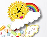 Sportskindom INS Sun Rainbow Wall Clock Wall Background Cartoon Wall Bell Slient quartz clock (1)