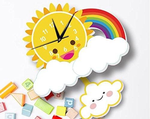 INS Sun Rainbow Wall Clock Wall Background Cartoon Wall Bell Slient quartz clock (5) by Sportskindom (Image #3)