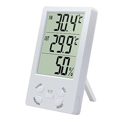 ZTYR Interior LCD Termómetro electrónico digital Higrómetro Medidor de humedad Alarma Celsius Fahrenheit Pantalla de temperatura