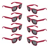 Neon Colors Party Favor Supplies Unisex Sunglasses Pack of 8 (Peach Coral)