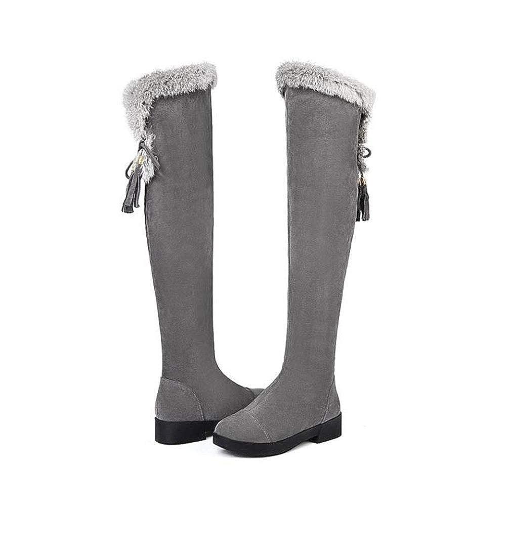 Langer Schlauch Over The Knie Stiefel Flacher Kaninchen Plüsch Damen Langer Schnee Stiefel Damen Plüsch Stiefel b19c83