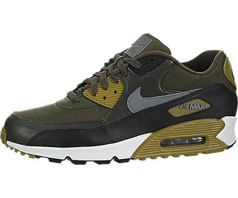 NIKE Men's Air Max 90 Essential Running Shoe, Cargo Khaki/Cool Grey-Black-Sequoia 9.5