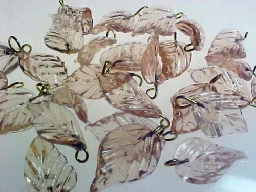 Handmade: 21 Pink/Champagne Vintage 3-D Curvy Glass Pressed Leaves Leaf Beads Findings Jewelry Making, 12mmx30mm (Pale Pink- Silver Hook) (Beads Pressed Leaf)