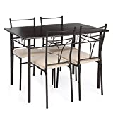 iKayaa 5PCS Table and Chairs Set 4 Person Metal Kitchen Dinning Table