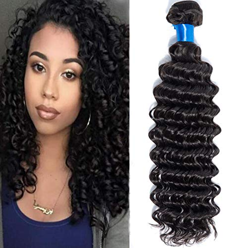Cranberry Brazilian Virgin Hair Deep Wave 3 Bundles Unprocessed Virgin Remy Human Hair Extensions Deep Curly Hair Weaves Natural Black Color (28inch)