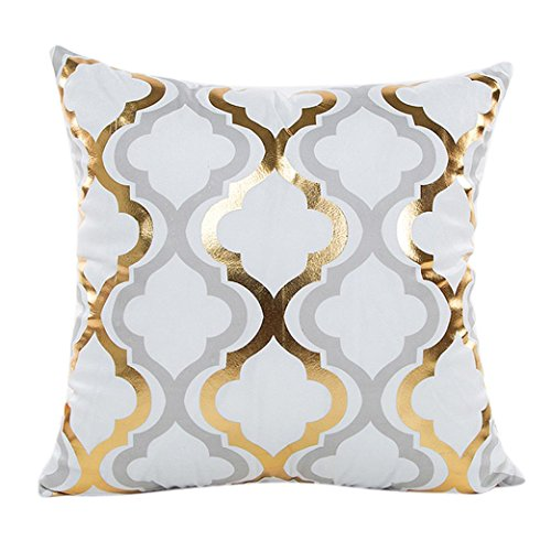 Price comparison product image Napoo Cute Gold Foil Printing Pillow Case Sofa Waist Throw Cushion Cover Home Decor (CC)