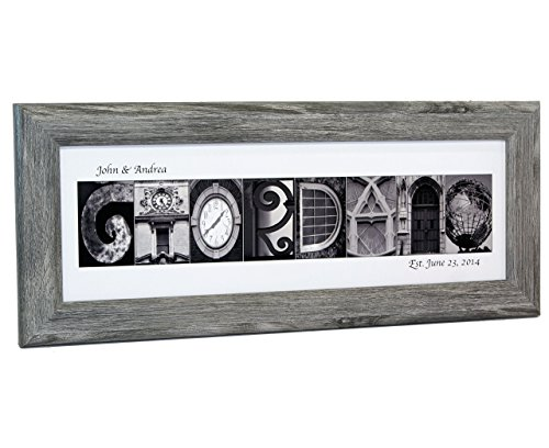 Personalized Name in Black and White Architecture From Original Alphabet Photograph Letters for Personalized Gift, Anniversary, Baby Name (Driftwood Frame)