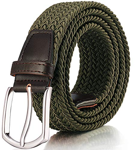 RANCHEZZ Elastic Belts for Men Braided Woven Stretch Belt Canvas Web Mens Belt - Army Green - L