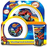 OFFICIAL BLAZE AND THE MONSTER MACHINES 3 PIECE DINING SET!! Complete with Plate, Bowl & Tumber/Beaker.