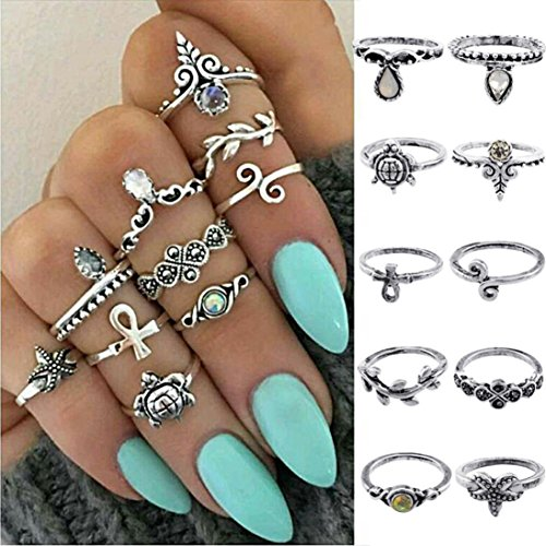 Womens Girls Gift Fashion 10PC/Set Knuckle Ring Set Faux Crystal Rings AfterSo (10PC/Set Rings, Sliver - 1)