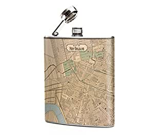 Oso and Bean Vintage New Orleans Map Designer Hip Flask