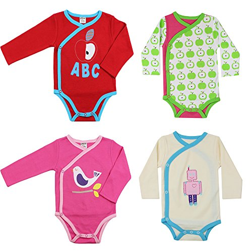 Kimono Pullover (juDanzy wrap around kimono style and pullover baby girl bodysuits (9-12 Months, 4 Pack Girls Bundle))