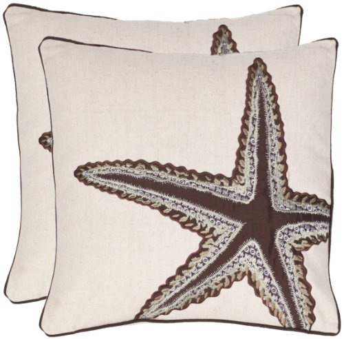 Safavieh Pillow Collection 18-Inch Sea Star Pillow, Ivory and Brown, Set of 2