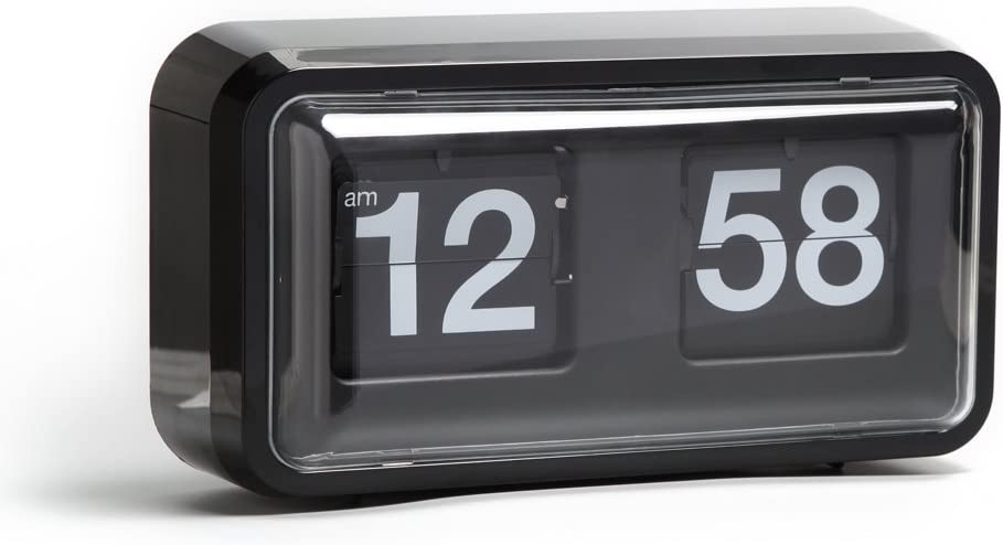 Rejea Auto Flip Clock, Wall Hang/Desktop Clock, Anti-Dust Cover, 10.5 x 6 x 3.2 inches, Decorative Flipping Down Clock for Office, Home, Bar, Desk & Shelf (Black, Plastic)