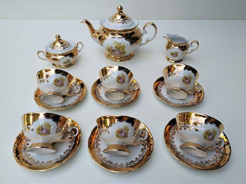 tea set 09p made in italy stamped 24k gold romeo & juliette