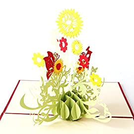 """Wivily Sunflower Handmade 3D Pop Up Christmas Cards Birthday Cards Best Wish Mother's Day Creative Greeting Cards Papercraft 5 Material: Paper Size: 15cm/5.91"""" in length , 15cm/5.91"""" in width Color: Green Quantity:1Pc"""