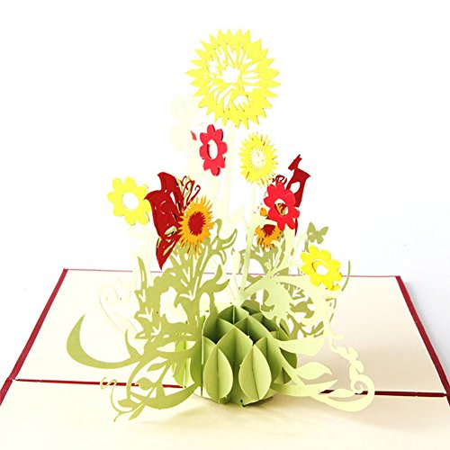 Wivily Sunflower Handmade 3D Pop Up Christmas Cards Birthday Cards Best Wish Mother's Day Creative Greeting Cards Papercraft