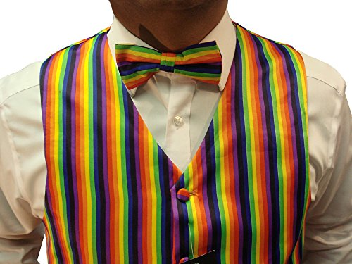 Men`s Rainbow Design Quality Waistcoat & Bowtie Set Weddings/Balls/Parties And For Any Other Events (XXL, Rainbow) by Elegance123 (Image #3)