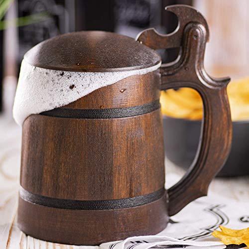 Fantasy Wooden Beer Mug, Pirate Medieval Beer Stein, Beer Tankard, DnD Gamer Gift, Gift for Him, Geek Gift