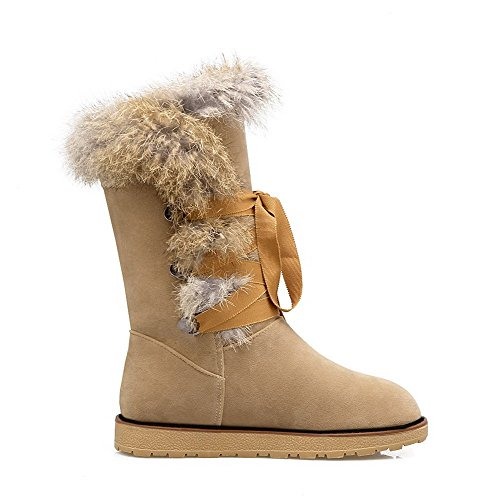 AmoonyFashion Womens Imitated Suede Low-top Solid Lace-up Low-Heels Snow-Boots Apricot KdTcWrllsn