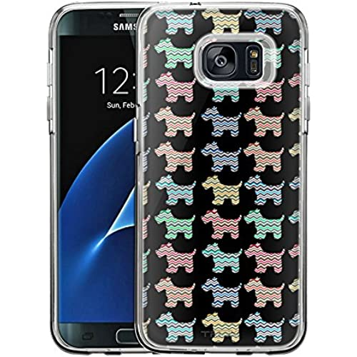 Samsung Galaxy S7 Edge Case, Snap On Cover by Trek Chevron Vinatage Puppy Pattern on Black One Piece Trans Case Sales