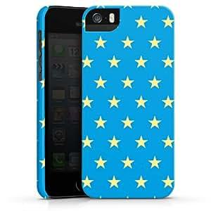 Carcasa Design Funda para Apple iPhone 5 S PremiumCase white - Polka Stars - blau und hellgelb