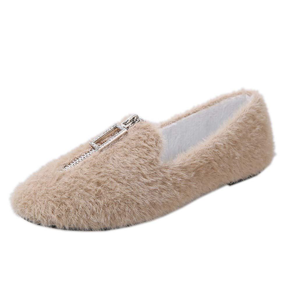Rmeioel Women Zipper Fuzzy Comfortable Round Toe Flat with Round Toe Casual Slip-Ons Shoes Beige by Rmeioel
