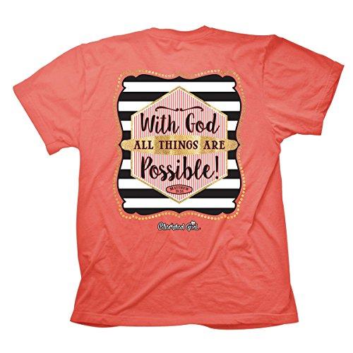 d Girl), Tee, 2X, Coral Silk - Christian Fashion Gifts (Faith Kids T-shirt)