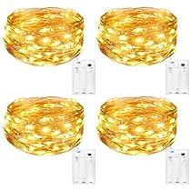 Kolpop Guirnalda Luces Pilas, Luces LED Pilas[4 PCS], Luces LED Habitacion 5m 50 LED Luces de Cadena Micro con Pilas de