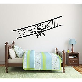 Amazon Com Vinyl Airplane Wall Decal Biplane Wall Sticker